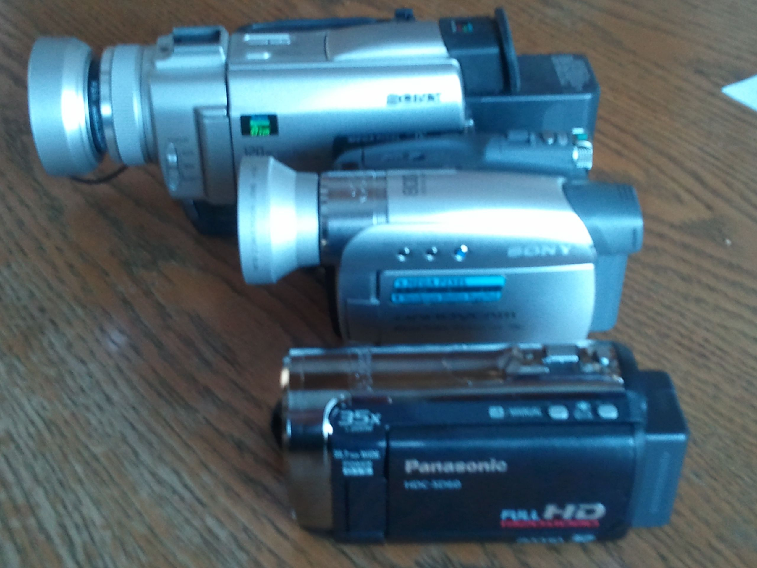 Photo of three of my old camcorders