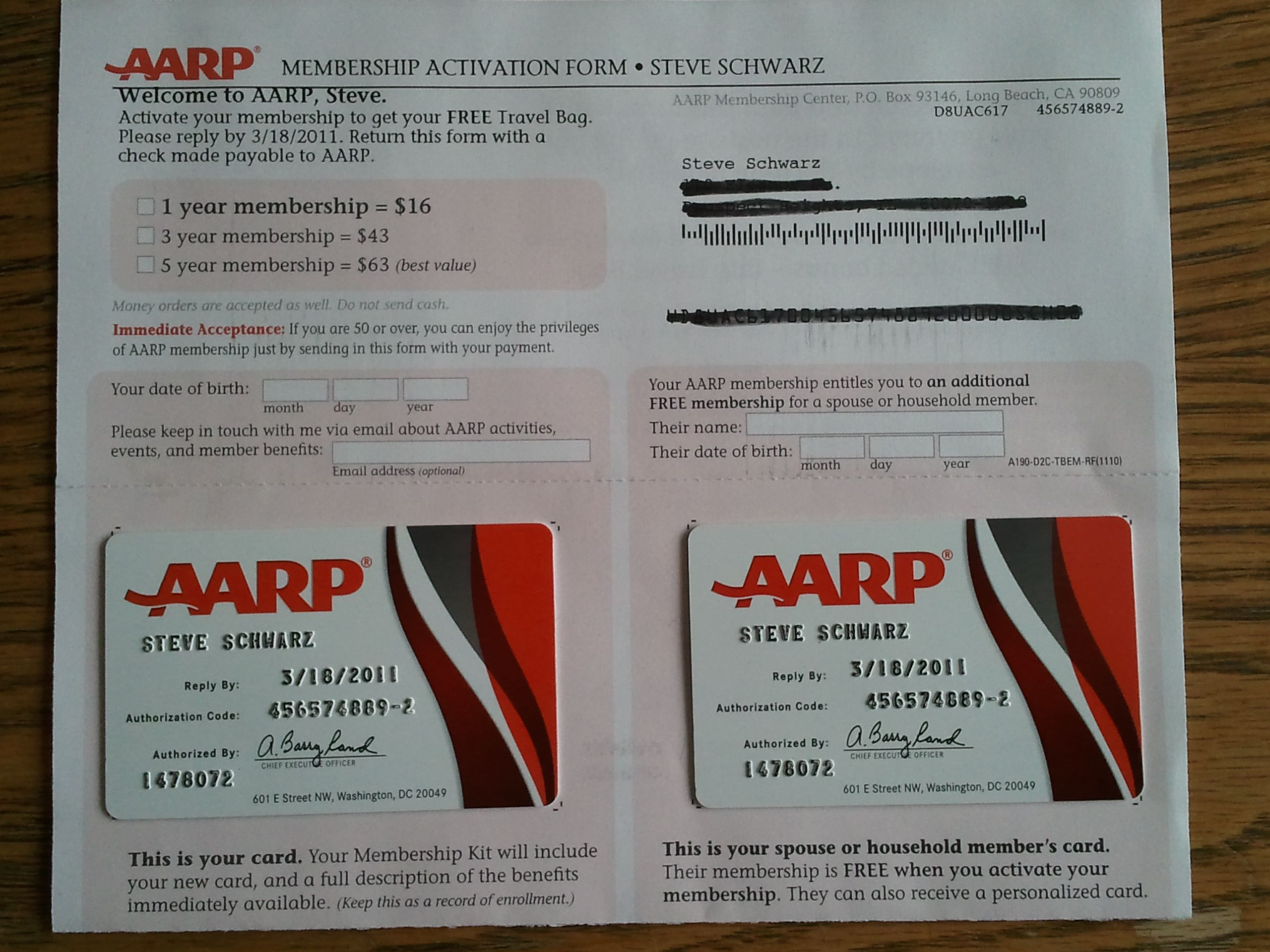 Photo of an AARP application