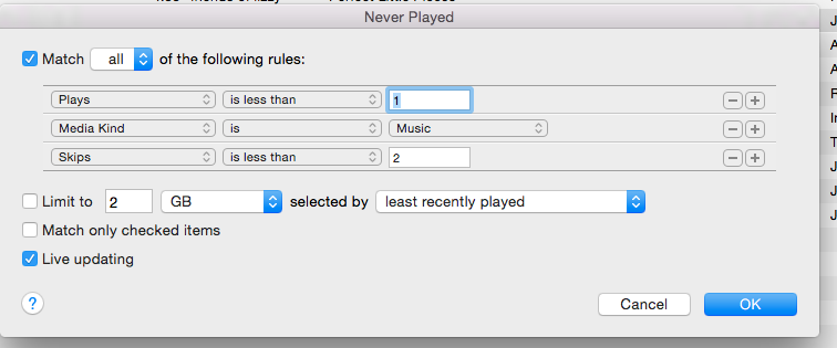 Image of the iTunes SmartPlaylist configuration
